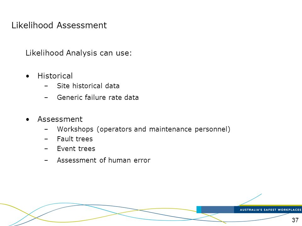 37 Likelihood Analysis can use: Historical –Site historical data –Generic failure rate data Assessment –Workshops (operators and maintenance personnel