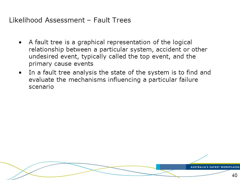 40 A fault tree is a graphical representation of the logical relationship between a particular system, accident or other undesired event, typically ca