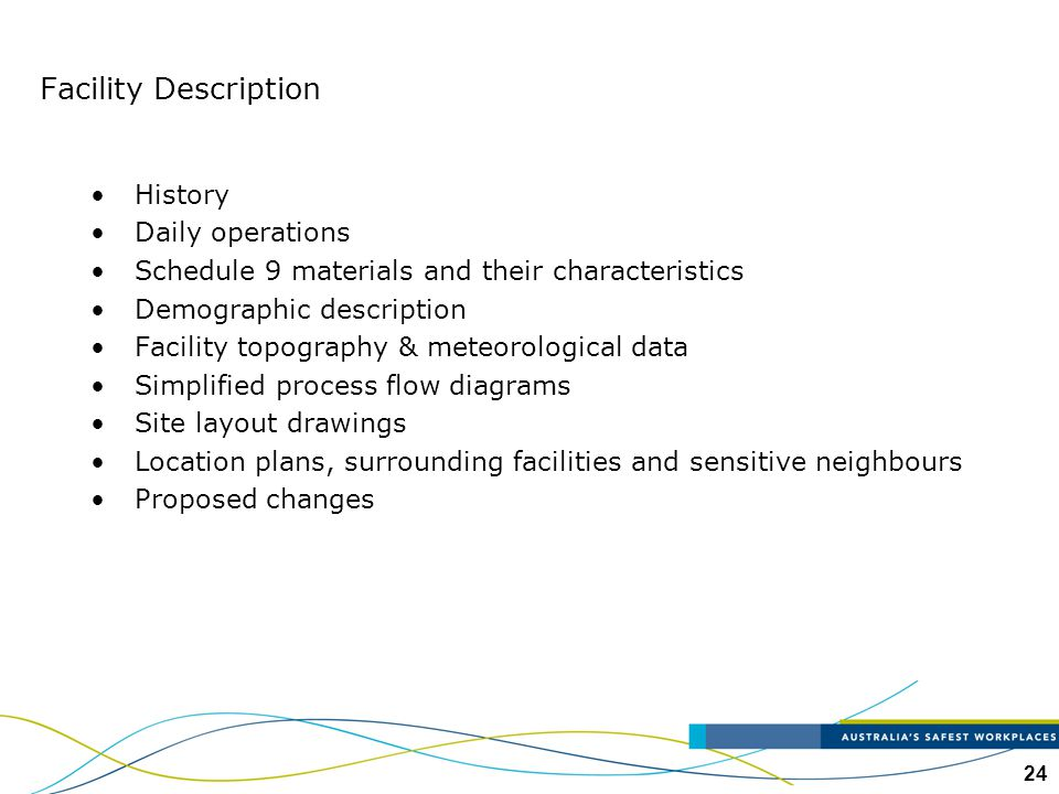 24 Facility Description History Daily operations Schedule 9 materials and their characteristics Demographic description Facility topography & meteorol