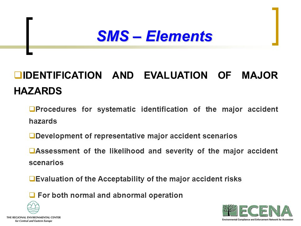 7 SMS – Elements  IDENTIFICATION AND EVALUATION OF MAJOR HAZARDS  Procedures for systematic identification of the major accident hazards  Developme