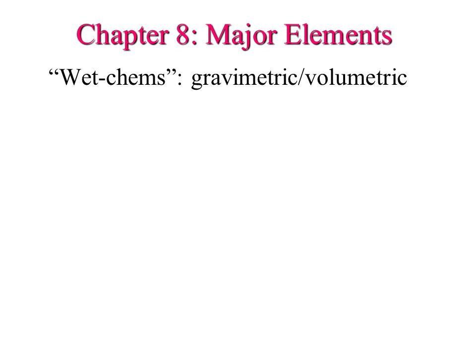 Chapter 8: Major Elements Wet-chems : gravimetric/volumetric