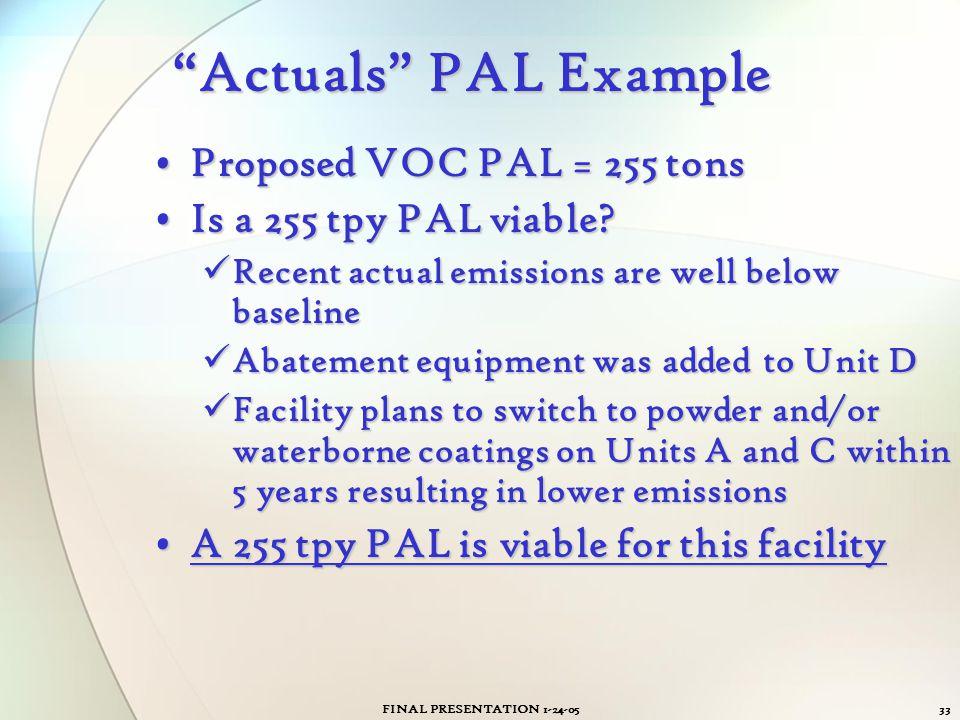 "FINAL PRESENTATION 1-24-0533 ""Actuals"" PAL Example Proposed VOC PAL = 255 tonsProposed VOC PAL = 255 tons Is a 255 tpy PAL viable?Is a 255 tpy PAL via"