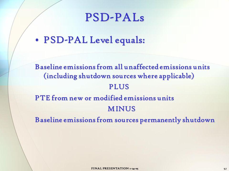 FINAL PRESENTATION 1-24-0557 PSD-PALs PSD-PAL Level equals:PSD-PAL Level equals: Baseline emissions from all unaffected emissions units (including shu