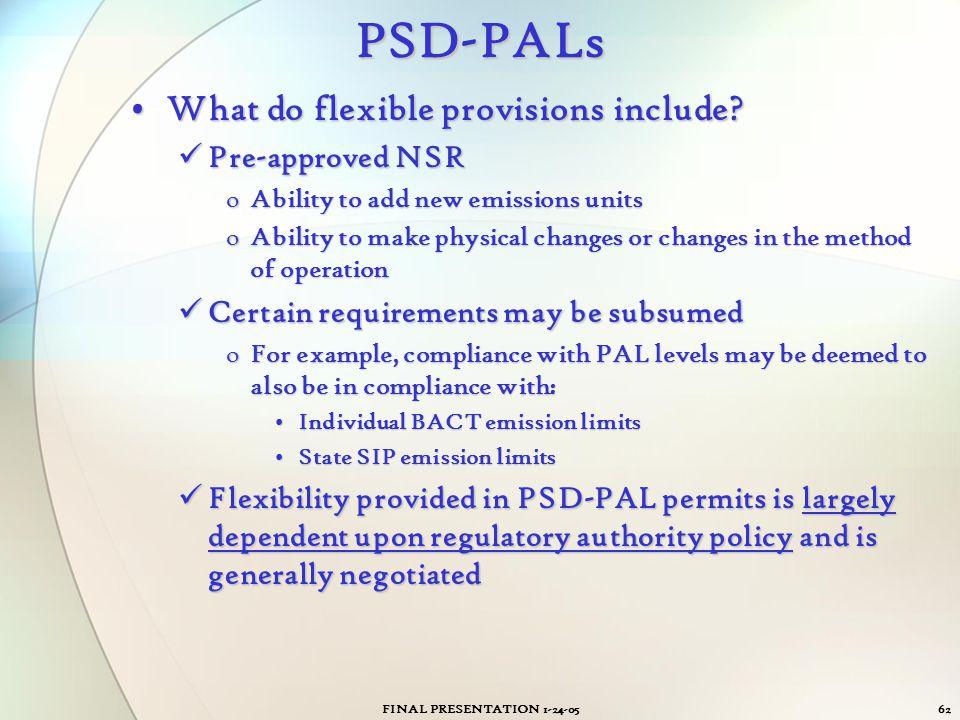 FINAL PRESENTATION 1-24-0562PSD-PALs What do flexible provisions include?What do flexible provisions include? Pre-approved NSR Pre-approved NSR oAbili