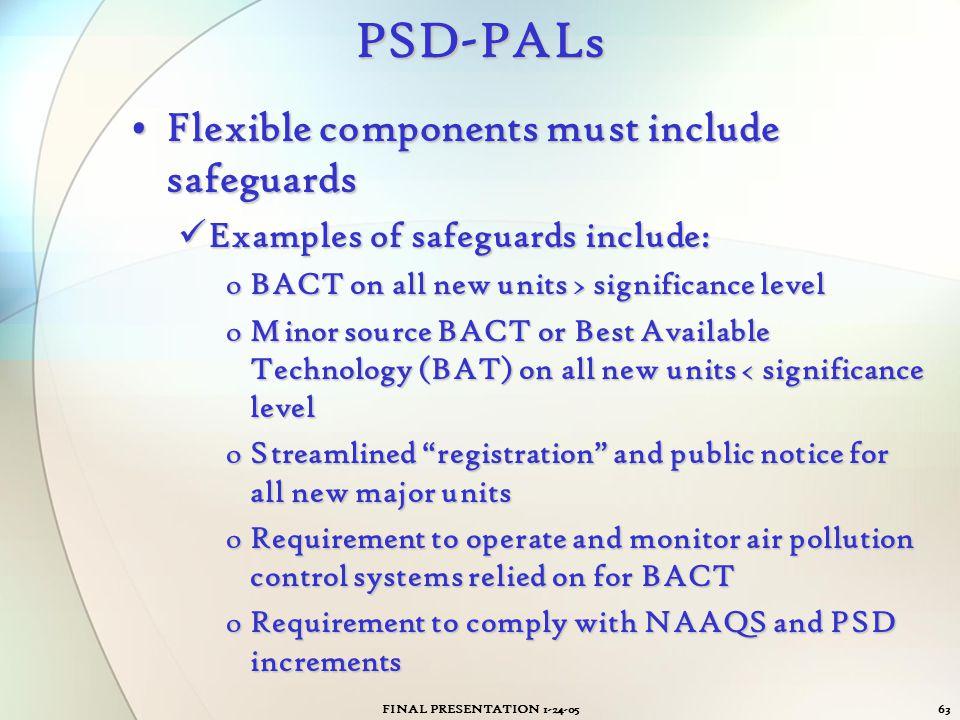 FINAL PRESENTATION 1-24-0563PSD-PALs Flexible components must include safeguardsFlexible components must include safeguards Examples of safeguards inc