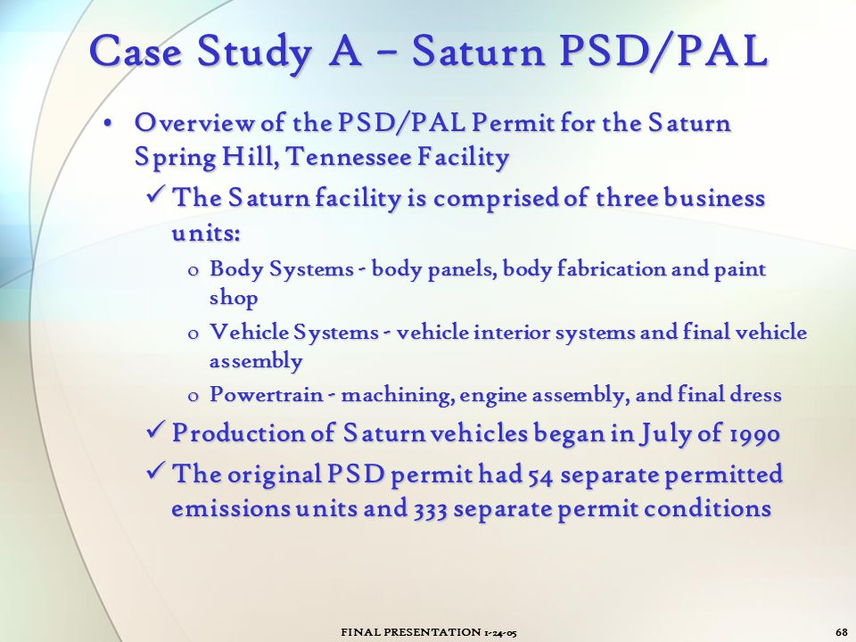 FINAL PRESENTATION 1-24-0568 Case Study A – Saturn PSD/PAL Overview of the PSD/PAL Permit for the Saturn Spring Hill, Tennessee FacilityOverview of th