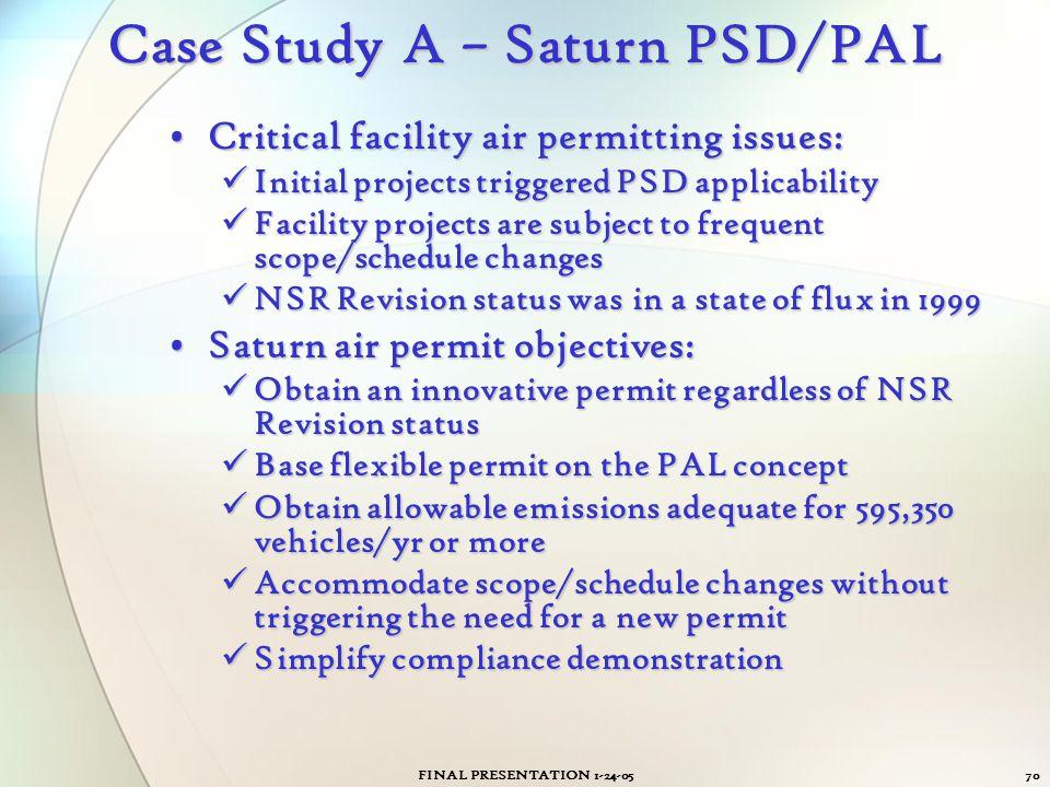 FINAL PRESENTATION 1-24-0570 Case Study A – Saturn PSD/PAL Critical facility air permitting issues:Critical facility air permitting issues: Initial pr