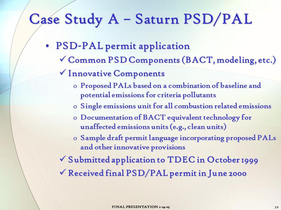 FINAL PRESENTATION 1-24-0572 Case Study A – Saturn PSD/PAL PSD-PAL permit applicationPSD-PAL permit application Common PSD Components (BACT, modeling,
