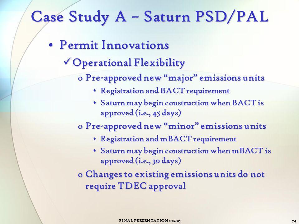 FINAL PRESENTATION 1-24-0574 Case Study A – Saturn PSD/PAL Permit InnovationsPermit Innovations Operational Flexibility Operational Flexibility oPre-a