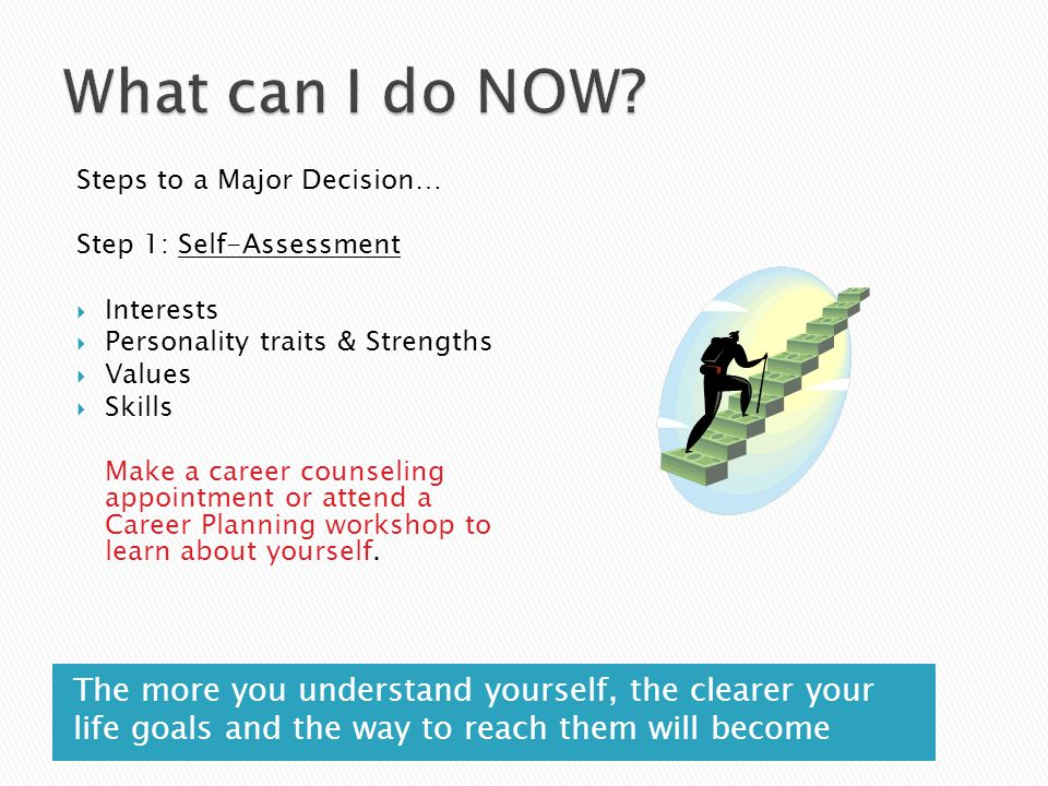 The more you understand yourself, the clearer your life goals and the way to reach them will become Steps to a Major Decision… Step 1: Self-Assessment
