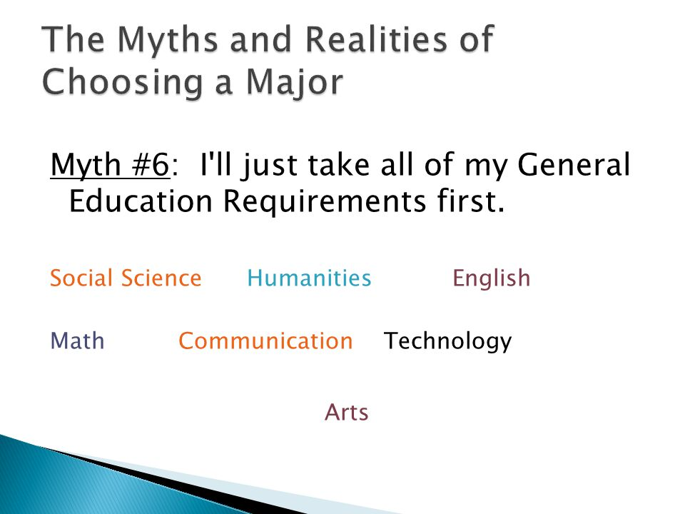 Myth #6: I'll just take all of my General Education Requirements first. Social ScienceHumanitiesEnglish MathCommunicationTechnology Arts