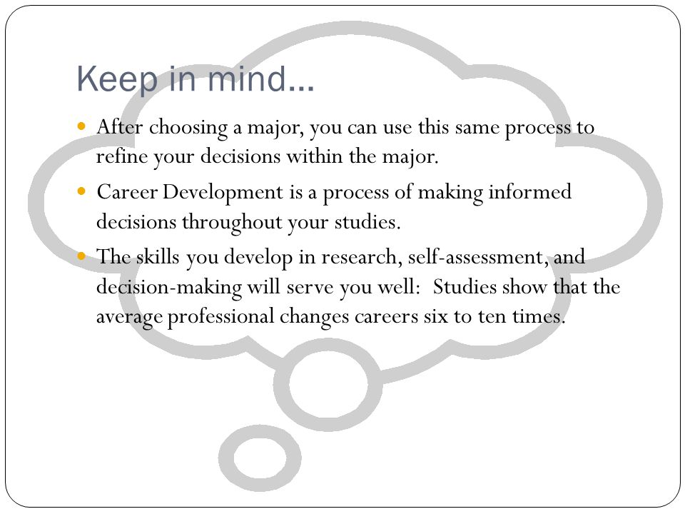 Keep in mind… After choosing a major, you can use this same process to refine your decisions within the major. Career Development is a process of maki