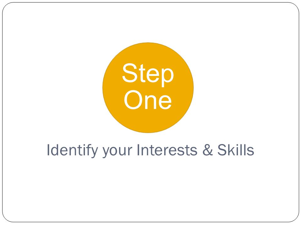 Step One Identify your Interests & Skills