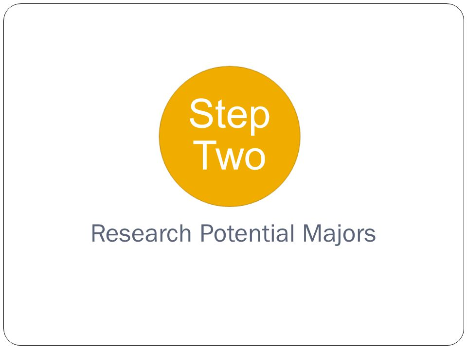 Step Two Research Potential Majors