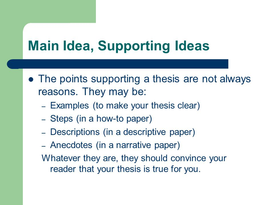 thesis statement supporting points