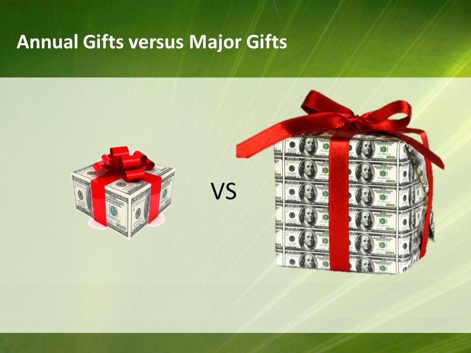 Annual Gifts versus Major Gifts VS