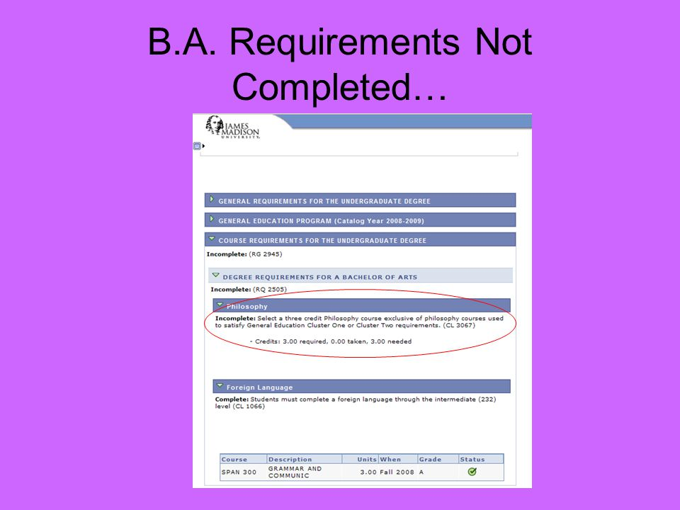 B.A. Requirements Not Completed…