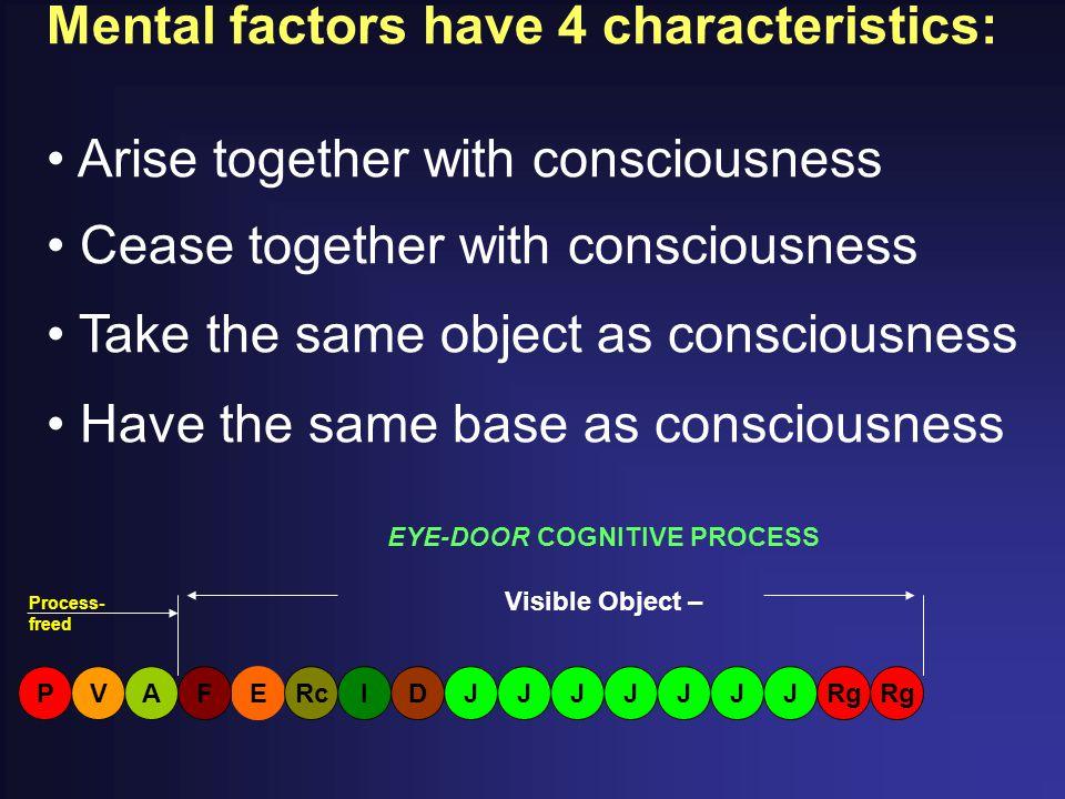 Mental factors have 4 characteristics: Arise together with consciousness Cease together with consciousness Take the same object as consciousness Have the same base as consciousness EYE-DOOR COGNITIVE PROCESS Visible Object – EFARgV PRcIDJJJJJJJ Process- freed