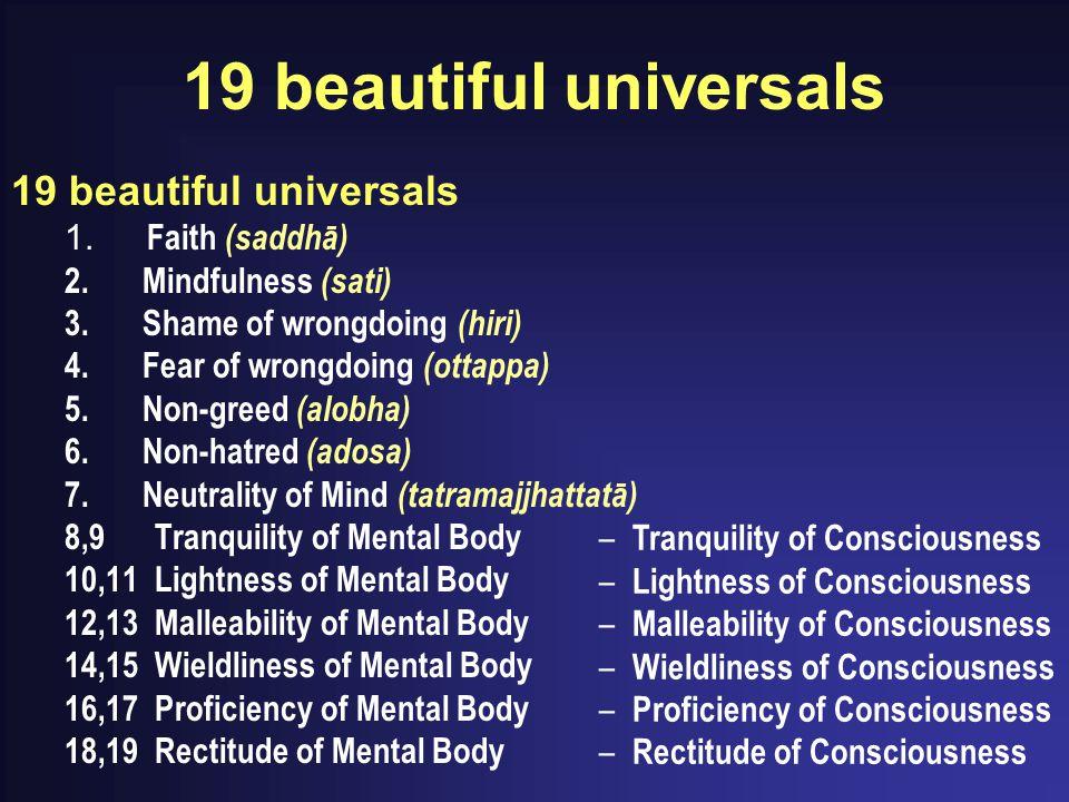 19 beautiful universals 1. Faith (saddhā) 2. Mindfulness (sati) 3. Shame of wrongdoing (hiri) 4. Fear of wrongdoing (ottappa) 5. Non-greed (alobha) 6.