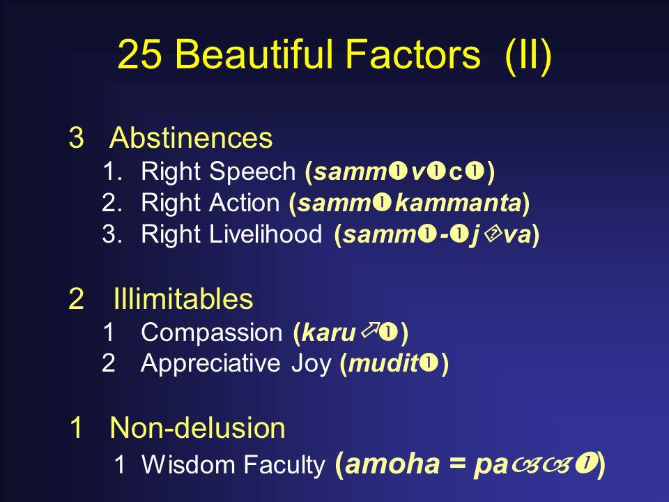 25 Beautiful Factors (II) 3 Abstinences 1.Right Speech (samm  v  c  ) 2.Right Action (samm  kammanta) 3.Right Livelihood (samm  -  j  va) 2Illimitables 1Compassion (karu  ) 2Appreciative Joy (mudit  ) 1 Non-delusion 1 Wisdom Faculty (amoha = pa  )