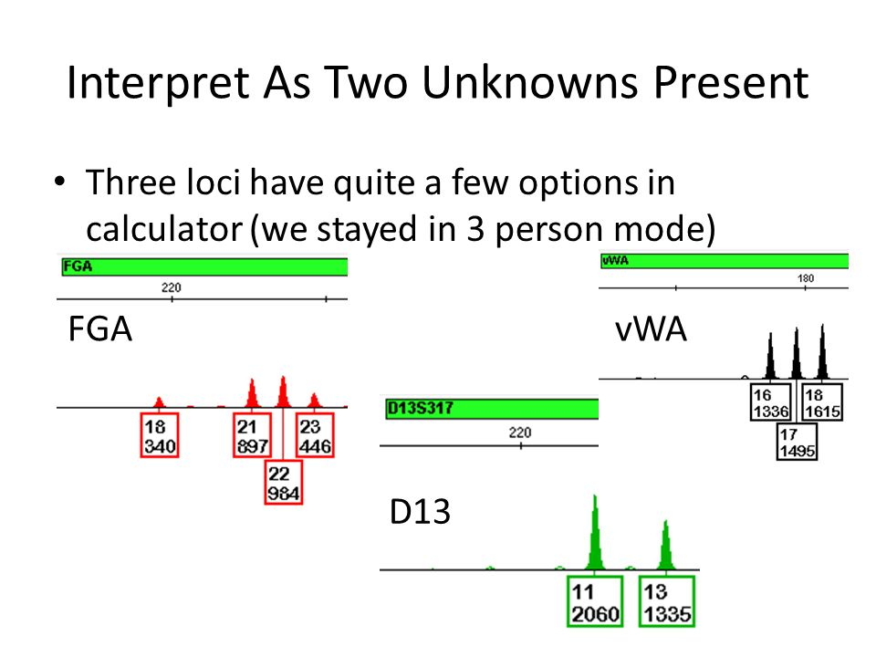 Three loci have quite a few options in calculator (we stayed in 3 person mode) Interpret As Two Unknowns Present FGA D13 vWA