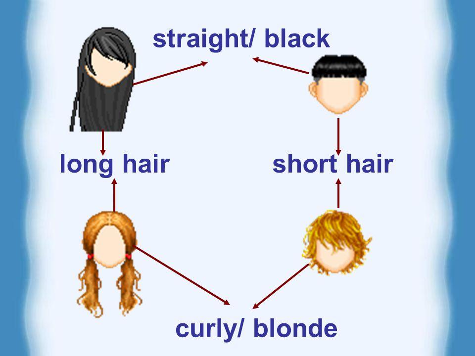 long black hair short straight short curly long curly straight black hair blonde hair What does he/she look like.