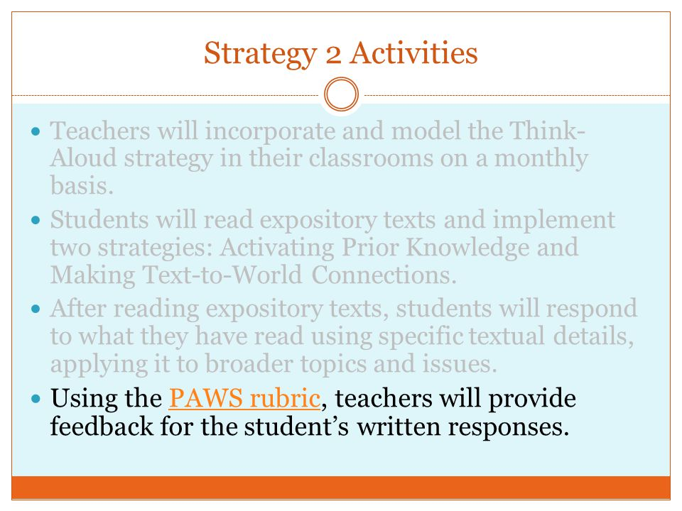 Strategy 2 Activities Teachers will incorporate and model the Think- Aloud strategy in their classrooms on a monthly basis.