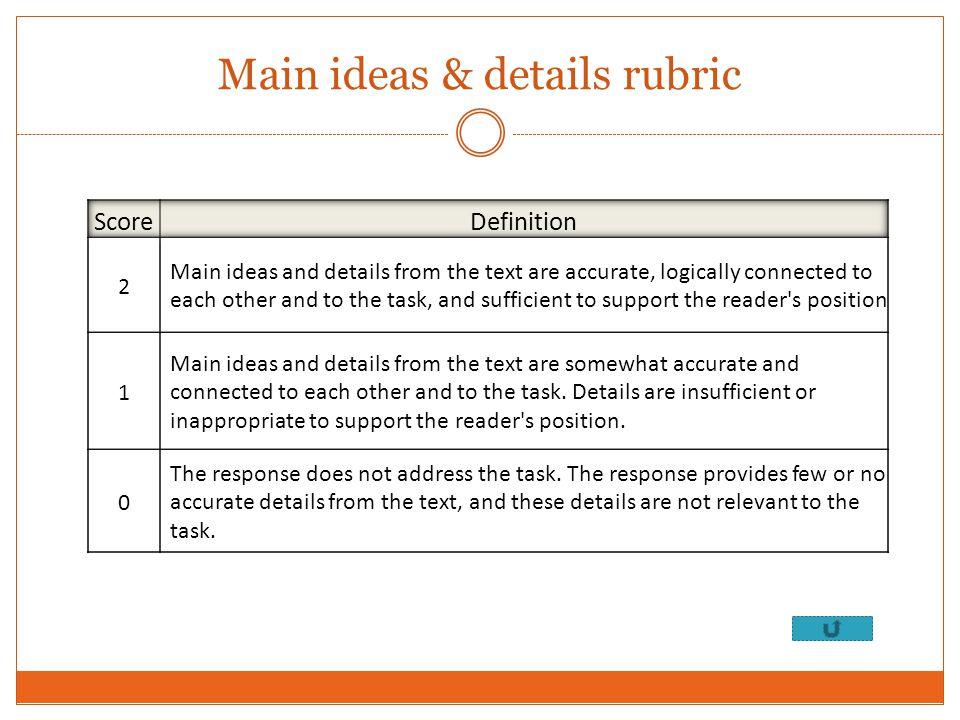 Main ideas & details rubric