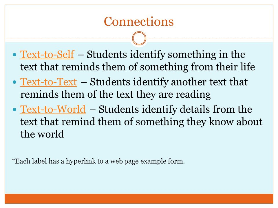 Connections Text-to-Self – Students identify something in the text that reminds them of something from their life Text-to-Self Text-to-Text – Students identify another text that reminds them of the text they are reading Text-to-Text Text-to-World – Students identify details from the text that remind them of something they know about the world Text-to-World *Each label has a hyperlink to a web page example form.