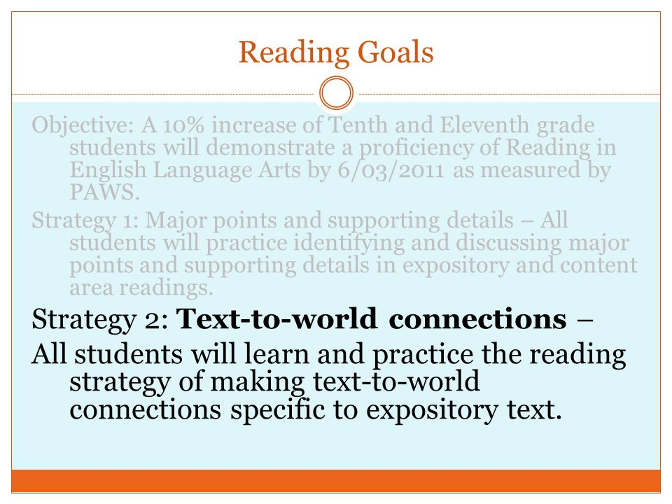 Objective: A 10% increase of Tenth and Eleventh grade students will demonstrate a proficiency of Reading in English Language Arts by 6/03/2011 as measured by PAWS.