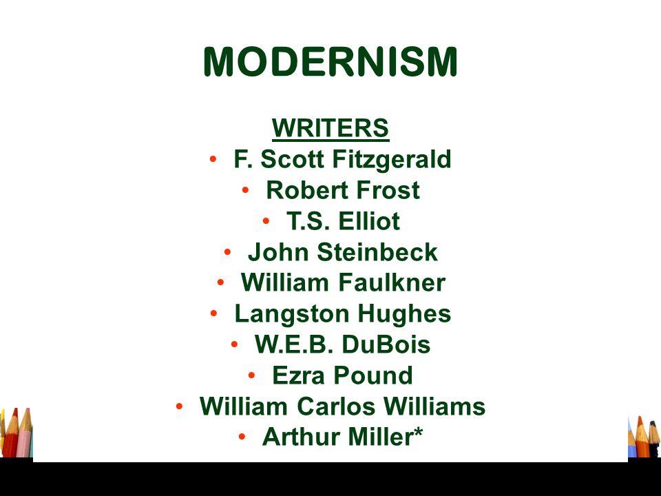 MODERNISM WRITERS F. Scott Fitzgerald Robert Frost T.S. Elliot John Steinbeck William Faulkner Langston Hughes W.E.B. DuBois Ezra Pound William Carlos