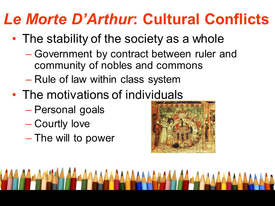 Le Morte D'Arthur: Cultural Conflicts The stability of the society as a whole –Government by contract between ruler and community of nobles and common