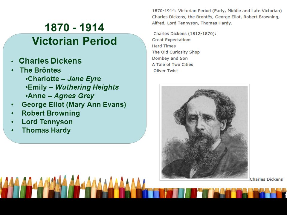 1870 - 1914 Victorian Period Charles Dickens The Bröntes Charlotte – Jane Eyre Emily – Wuthering Heights Anne – Agnes Grey George Eliot (Mary Ann Evan