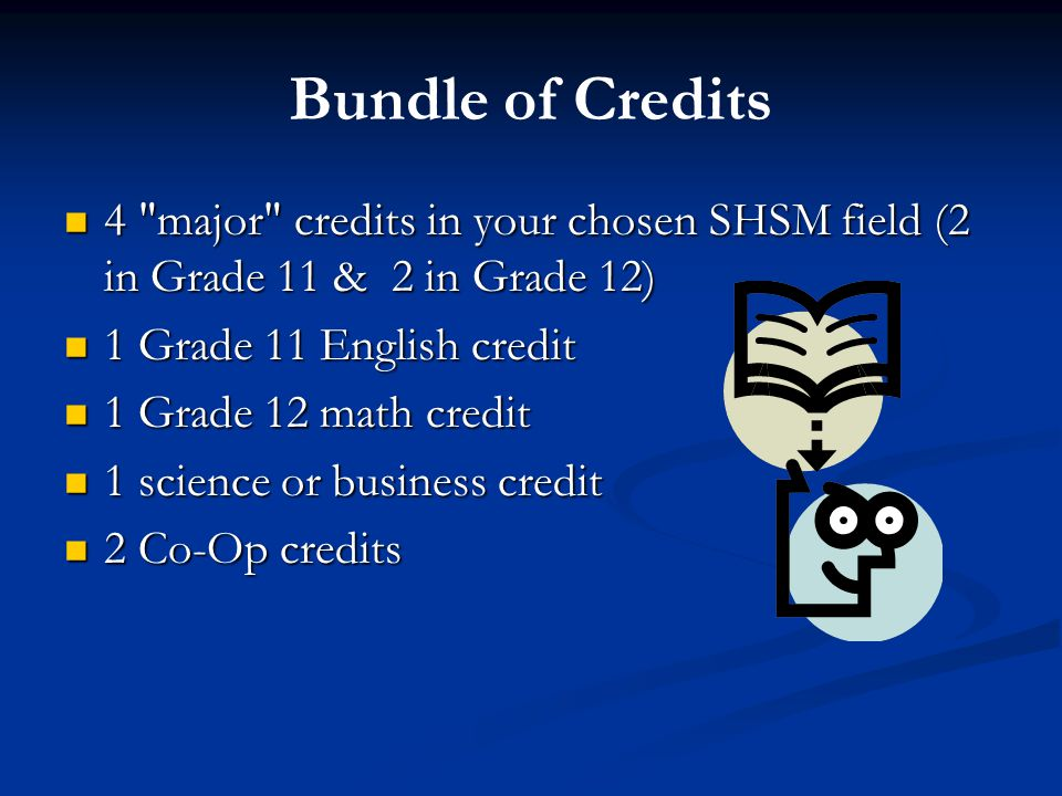 Bundle of Credits 4 major credits in your chosen SHSM field (2 in Grade 11 & 2 in Grade 12) 4 major credits in your chosen SHSM field (2 in Grade 11 & 2 in Grade 12) 1 Grade 11 English credit 1 Grade 11 English credit 1 Grade 12 math credit 1 Grade 12 math credit 1 science or business credit 1 science or business credit 2 Co-Op credits 2 Co-Op credits