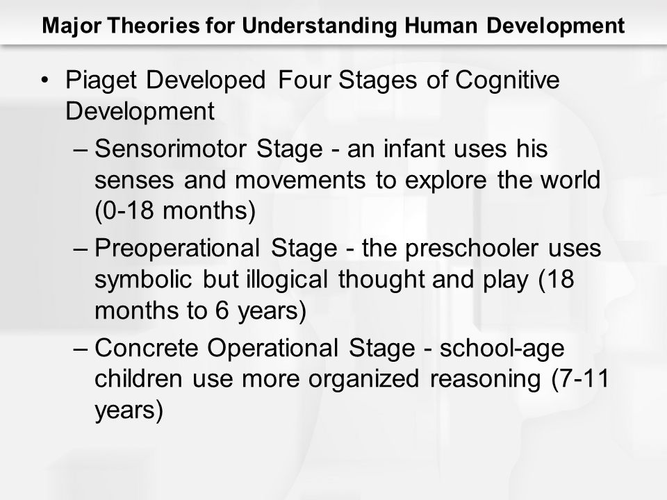 Major Theories for Understanding Human Development Piaget Developed Four Stages of Cognitive Development –Sensorimotor Stage - an infant uses his senses and movements to explore the world (0-18 months) –Preoperational Stage - the preschooler uses symbolic but illogical thought and play (18 months to 6 years) –Concrete Operational Stage - school-age children use more organized reasoning (7-11 years)