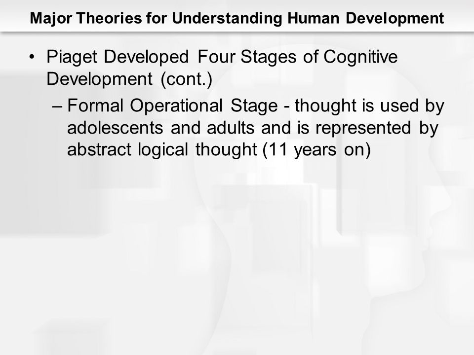 Major Theories for Understanding Human Development Piaget Developed Four Stages of Cognitive Development (cont.) –Formal Operational Stage - thought is used by adolescents and adults and is represented by abstract logical thought (11 years on)