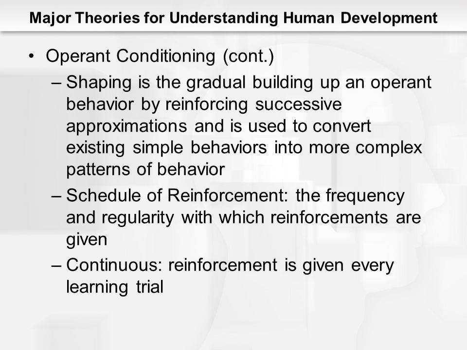 Major Theories for Understanding Human Development Operant Conditioning (cont.) –Shaping is the gradual building up an operant behavior by reinforcing successive approximations and is used to convert existing simple behaviors into more complex patterns of behavior –Schedule of Reinforcement: the frequency and regularity with which reinforcements are given –Continuous: reinforcement is given every learning trial