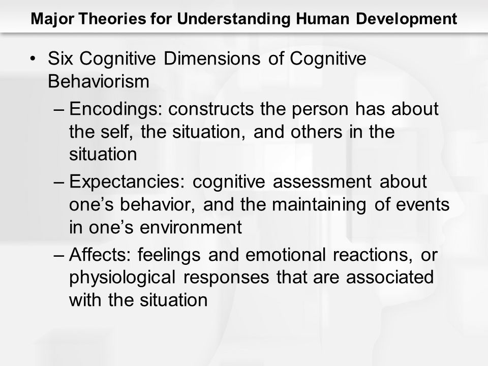 Major Theories for Understanding Human Development Six Cognitive Dimensions of Cognitive Behaviorism –Encodings: constructs the person has about the self, the situation, and others in the situation –Expectancies: cognitive assessment about one's behavior, and the maintaining of events in one's environment –Affects: feelings and emotional reactions, or physiological responses that are associated with the situation