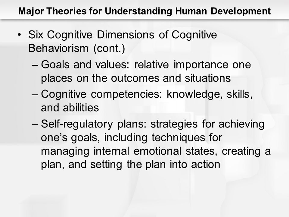 Major Theories for Understanding Human Development Six Cognitive Dimensions of Cognitive Behaviorism (cont.) –Goals and values: relative importance one places on the outcomes and situations –Cognitive competencies: knowledge, skills, and abilities –Self-regulatory plans: strategies for achieving one's goals, including techniques for managing internal emotional states, creating a plan, and setting the plan into action