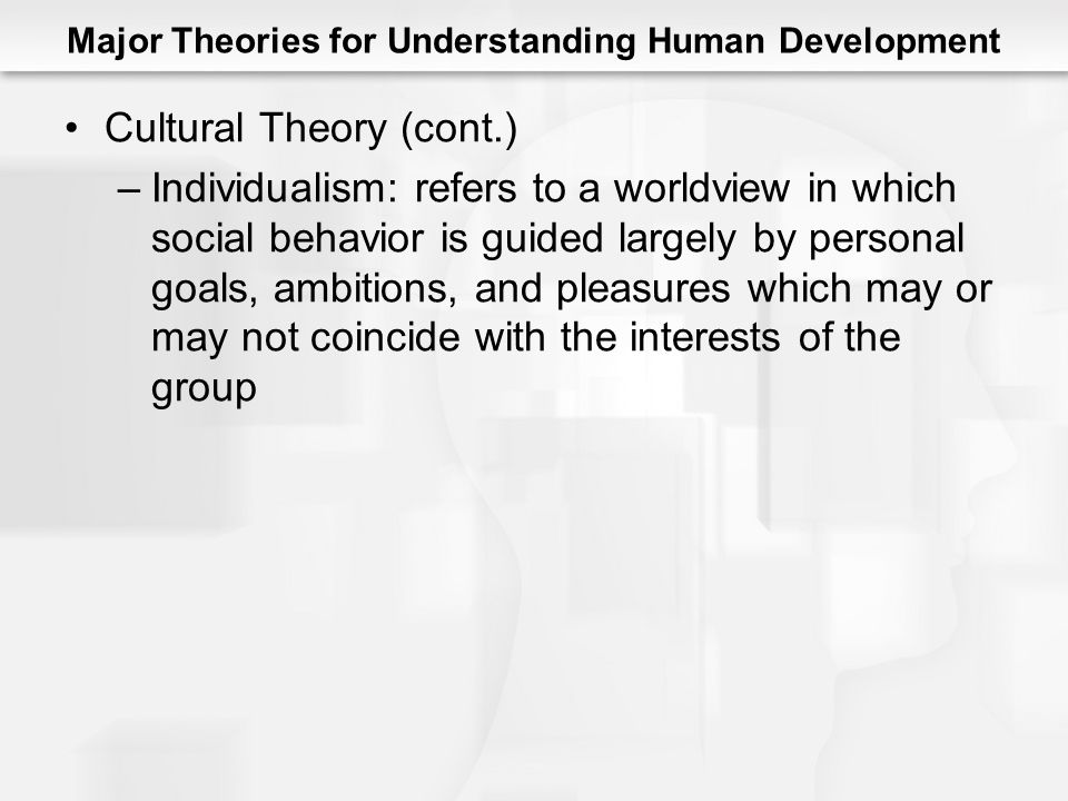Major Theories for Understanding Human Development Cultural Theory (cont.) –Individualism: refers to a worldview in which social behavior is guided largely by personal goals, ambitions, and pleasures which may or may not coincide with the interests of the group