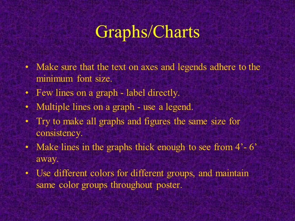 Graphs/Charts Make sure that the text on axes and legends adhere to the minimum font size.