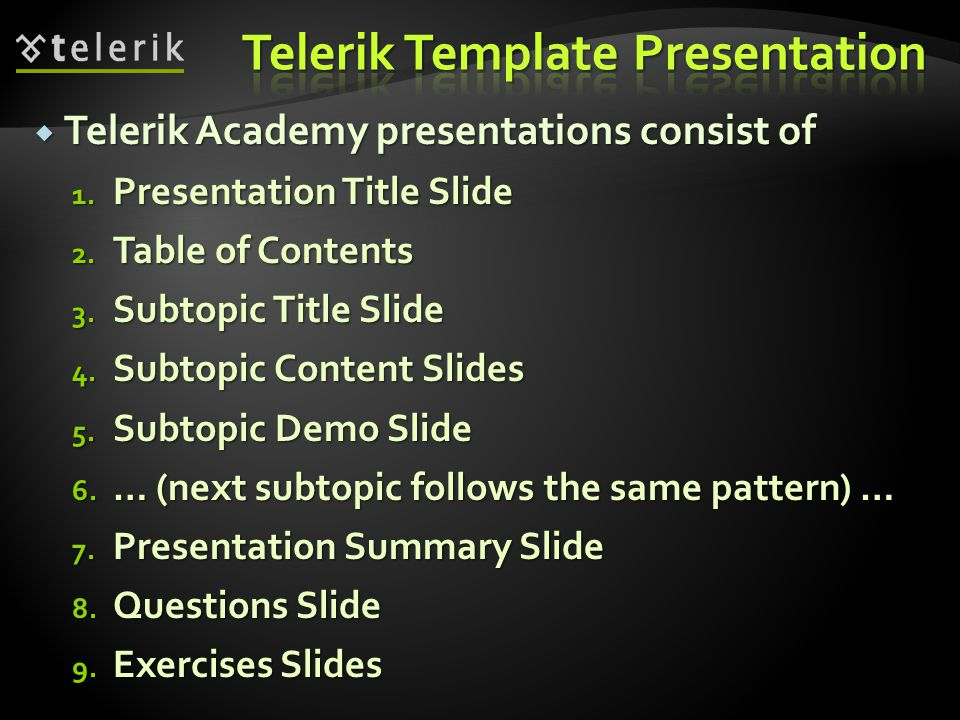 How to execute the rules upon Telerik Academy Presentations