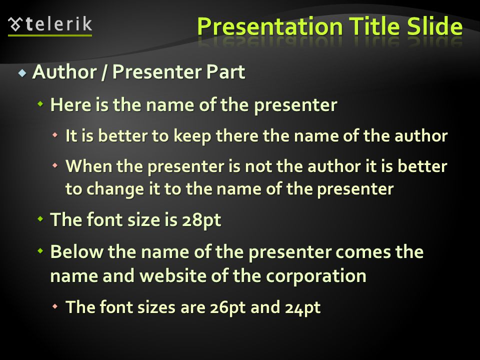  Title Part  Here we put the presentation subject  i.e.