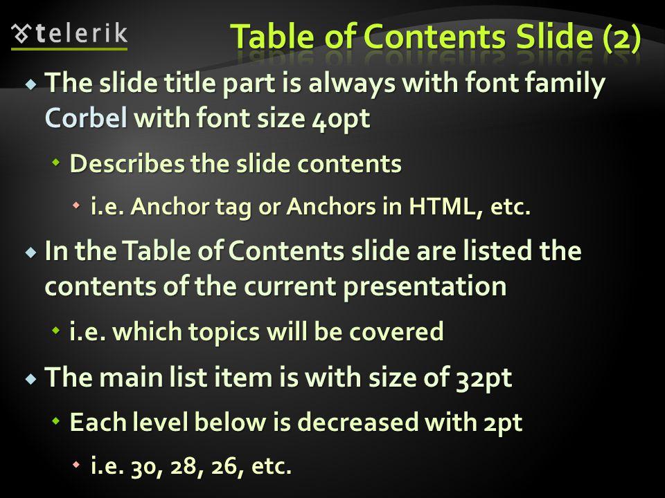 The Slide Title Contents Sub contents