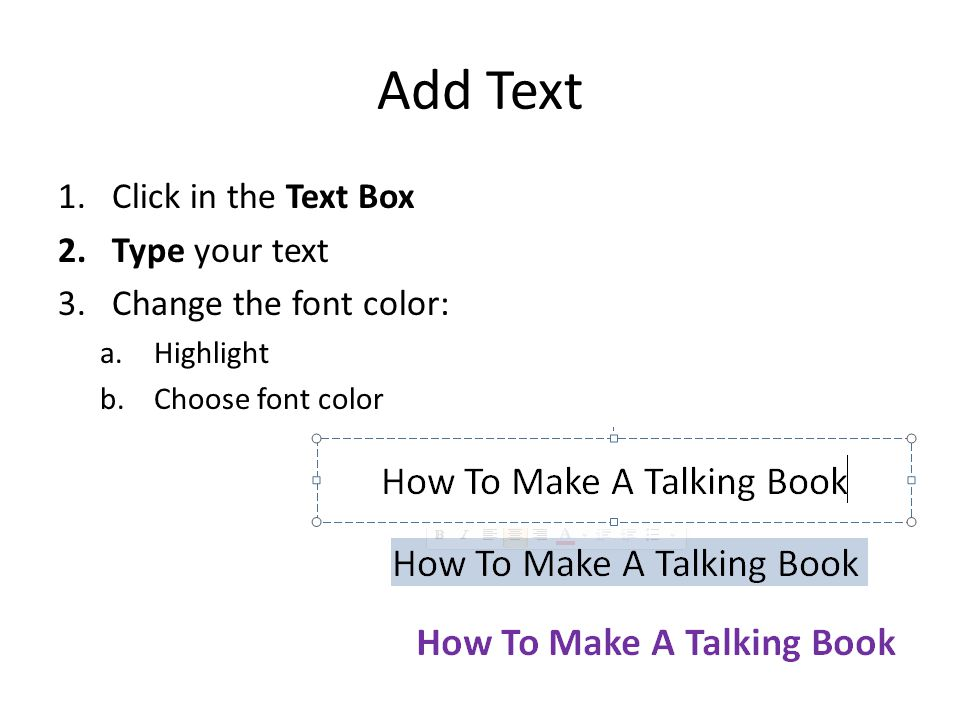 CUSTOMIZE THE TALKING BOOK: ADD TEXT