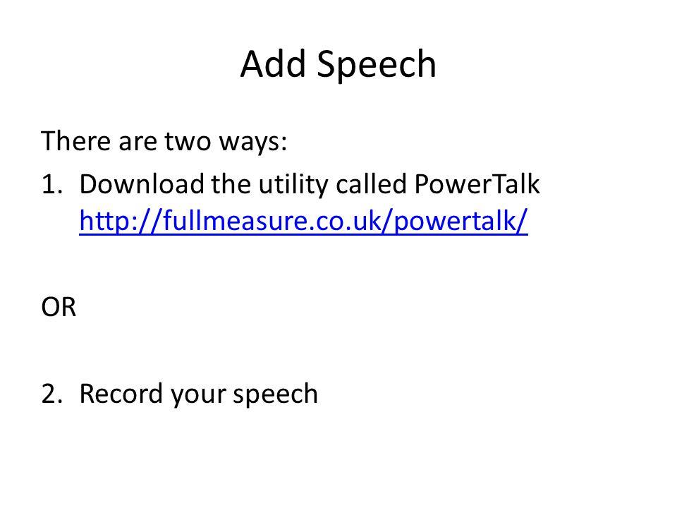 CUSTOMIZE THE TALKING BOOK: ADD SPEECH