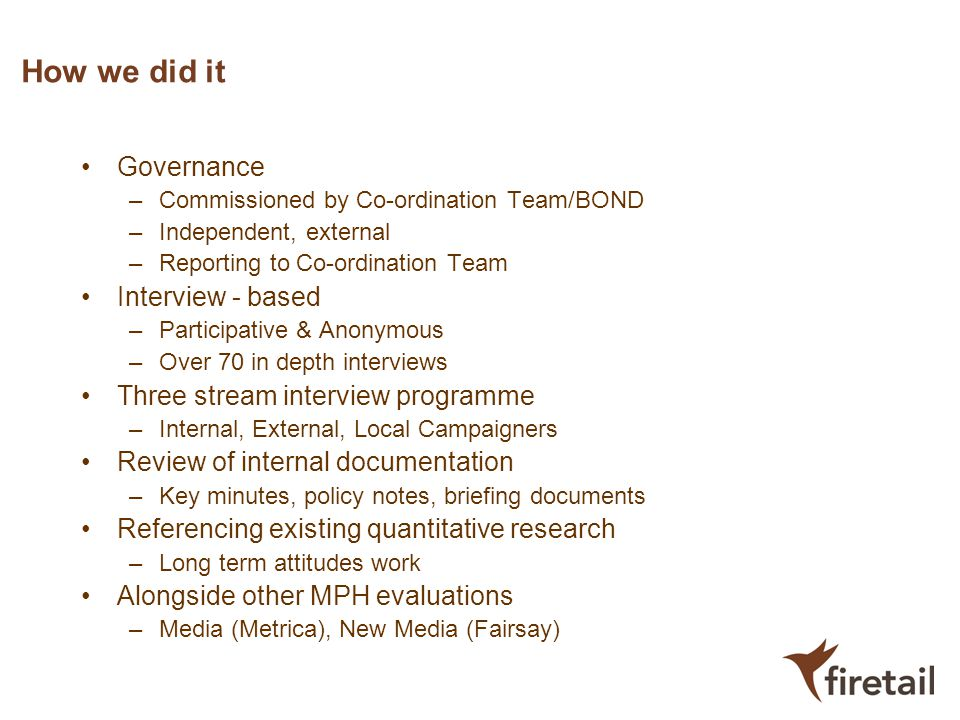 How we did it Governance –Commissioned by Co-ordination Team/BOND –Independent, external –Reporting to Co-ordination Team Interview - based –Participa