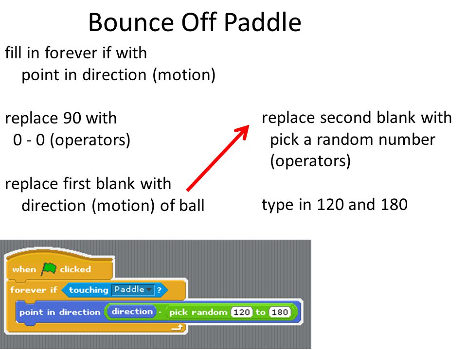 Bounce Off Paddle fill in forever if with point in direction (motion) replace 90 with 0 - 0 (operators) replace first blank with direction (motion) of