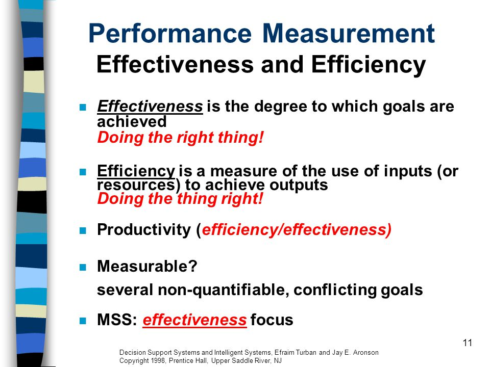 11 Performance Measurement Effectiveness and Efficiency Effectiveness is the degree to which goals are achieved Doing the right thing! Efficiency is a
