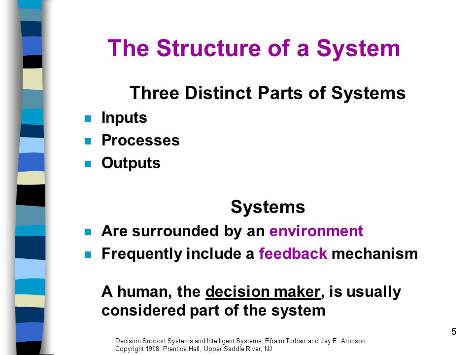 5 The Structure of a System Three Distinct Parts of Systems Inputs Processes Outputs Systems Are surrounded by an environment Frequently include a fee